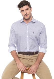 Camisa Dudalina Reta Estampada Branca/Azul