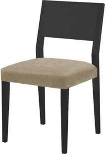Cadeira Caiscais Assento Cor Bege Com Base Laca Preto Fosco - 46491 - Sun House