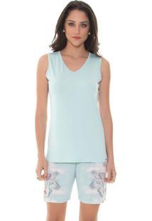 Pijama Recco Regata Recco Com Shorts Meia Coxa De Viscose E Microfibra Amni - Feminino-Verde Água
