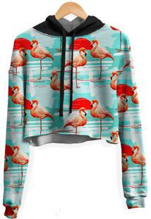 Blusa Cropped Moletom Feminina Over Fame Flamingos Md01