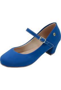 Scarpin Donna Santa Bico Redondo Boneca Azul-Nobuck