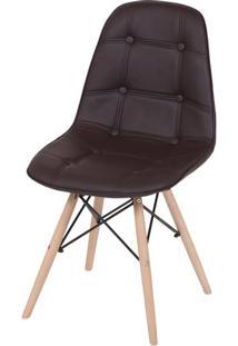 Cadeira Eames Botone Marrom Base Madeira - 33895 - Sun House