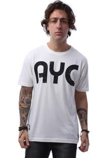 Camiseta Asphalt Letter Ayc Masculina - Masculino-Branco