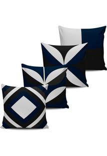 Kit 4 Capas Almofadas Decorativas Abstrata Azul Preto 45X45 - Tricae