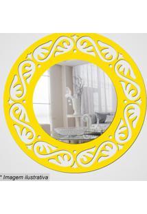 Espelho Círculo Com Recortes- Espelhado & Amarelo- Øcia Laser