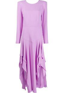 Stella Mccartney Vestido Mangas Longas Assimétrico - Roxo