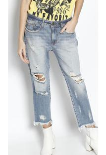 Jeans Low Slim Comfort Com Puídos - Azul -My Favoritmy Favorite Things