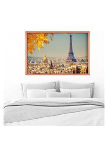 Quadro Love Decor Com Moldura Outono Em Paris Rose Metalizado Grande