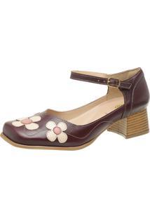 Sapato Retrô Bico Quadrado Dhl Feminino Vinho - Kanui