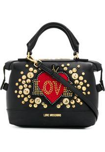 Love Moschino Bolsa Tote Com Aplicação De Logo - Preto