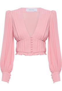 Blusa Feminina Decote V Pregas - Rosa