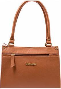 Bolsa Dalber Couro Legítimo Handbag Estruturada Com Alça Tiracolo - Feminino-Marrom