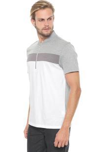 Camisa Polo Calvin Klein Reta Color Blocked Cinza/Branca