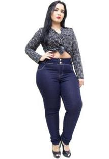 Calça Jeans Credencial Plus Size Skinny Dryka Feminina - Feminino-Azul