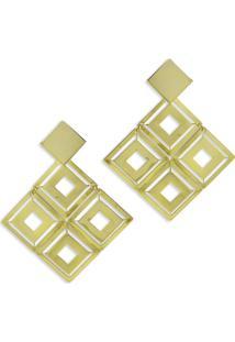 Brinco Turpin Geométrico Quadrado Dourado