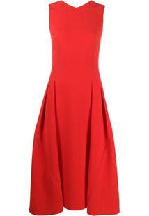 Victoria Beckham Vestido Evasê Midi Com Plissado - Vermelho