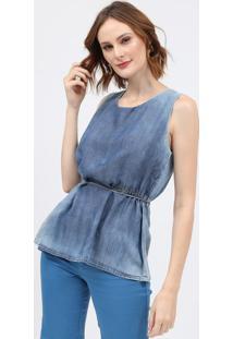 Blusa Jeans Com Franzidos - Azulscalon