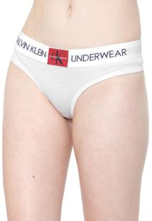 Calcinha Calvin Klein Underwear Tanga Monogram Branca
