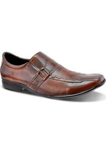 Sapato Social Fivela Masculino Couro Legítimo Leoppé - Masculino-Marrom