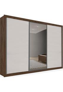 Armário 03 Portas De Correr 2,76 Espelho Central, Ébano Com Branco, Premium Plus Ii