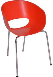 Cadeira Hamburgo- Vermelha & Prateada- 81X49X53Cm