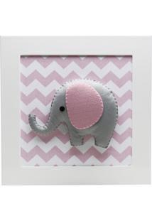 Quadro Decorativo Elefante Chevron Quarto Bebê Infantil Potinho De Mel Rosa