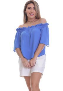 Blusa Clara Arruda Ombro A Ombro 20492 Azul