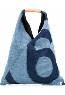 Mm6 Maison Margiela Bolsa De Mão Jeans Com Estampa De Logo - Azul