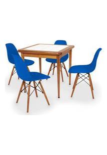 Conjunto Mesa De Jantar Em Madeira Imbuia Com Azulejo + 4 Cadeiras Eames Eiffel - Azul