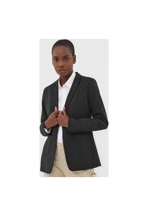 Blazer Lã Banana Republic Long And Lean Preto