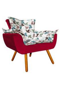 Poltrona Decorativa Opala Composê Estampado Floral D68 E Veludo Vermelho - D'Rossi