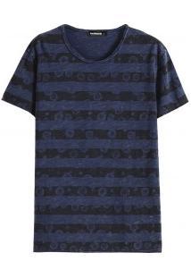 Camiseta Masculina Com Estampa Listrada - Azul Marinho