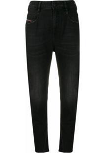 Diesel Calça Jeans Skinny Cintura Alta - Preto