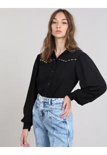 Camisa Feminina Mindset Ampla Com Tachas Manga Longa Preto