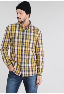 Camisa Masculina Estampada Xadrez Com Bolso Manga Longa Amarela