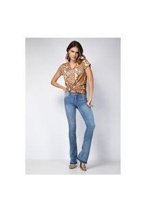 Calça Boot Cut Low Selene Lança Perfume Jeans Azul