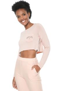 Blusa Cropped Hurley Metal Blades Rosa