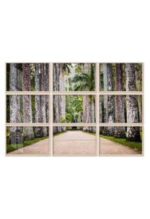 Quadro 150X225Cm Painel Jardim Botânico Palmeiras Moldura Natural Com Vidro