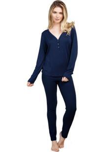Pijama Inspirate Longo Feminino - Feminino-Marinho