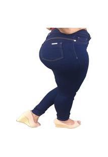 Calça Jeans Femina Skinny Azul Escura Cintura Alta Elastano.