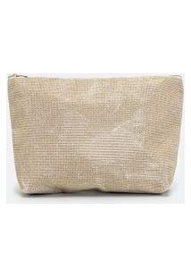 Nécessaire Trapézio Glitter Texturizada Lisa | Accessories | Dourado | U