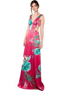 Vestido Longo Izadora Lima Brand Em Cetim Estampado Rosa
