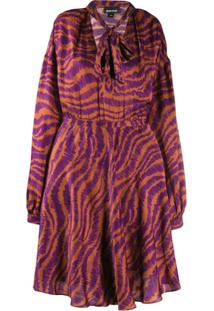 Just Cavalli Animal Print Pussy Bow Dress - Roxo