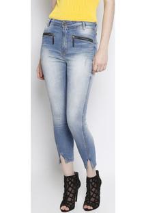 Jeans Second Skinny Estonado Com Puídos - Azul Clarolança Perfume