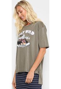 Camiseta Sommer Stay Wild Feminina - Feminino-Preto+Roxo