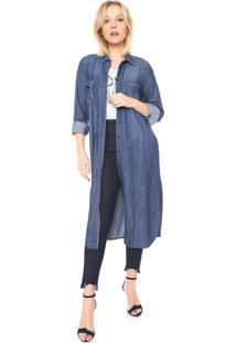 Camisa Jeans Colcci Alongada Azul