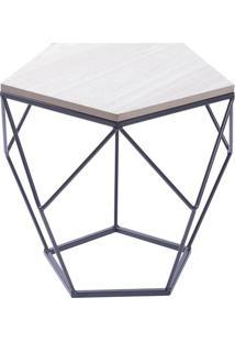 Mesa Lateral Geométrica- Preta & Bege Claro- 36,5X40Or Design