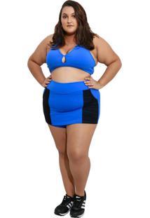 Shorts Saia Fitness Corpusfit Life Com Bolso Plus Size - Azul E Preto - Kanui