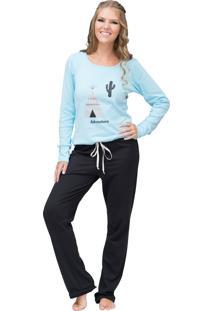 Pijama Longo Inspirate Adventure Preto E Azul