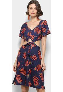 Vestido Mercatto Evasê Curto Folhagens Decote V Recorte Cintura - Feminino-Azul Escuro